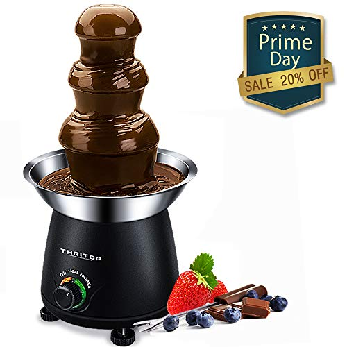 THRITOP Chocolate Pro Fountain,3-Tier Stainless Steel Tower Chocolate Fondue, Fountain kit 11' Black 1lb ()