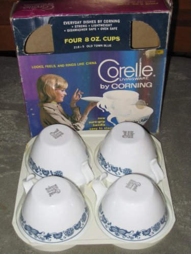 SET OF 4 - Vintage Corning Livingware OLD TOWN BLUE 8 Ounce Cups Mugs (heavy box wear as in photo)