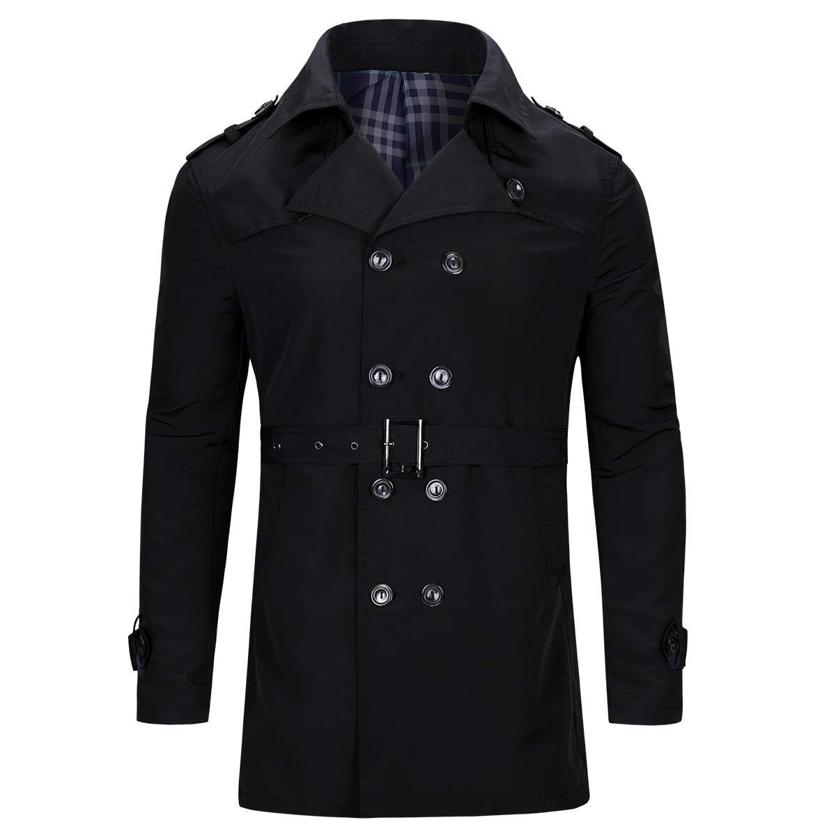 Allthemen Manteau Cois/é /à Double Boutonnage Style Mi-Long avec Ceinture