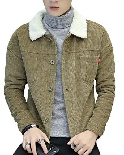 Gocgt Men's Vintage Sherpa Lined Shearling Corduroy Trucker Jacket Overcoat 1 S
