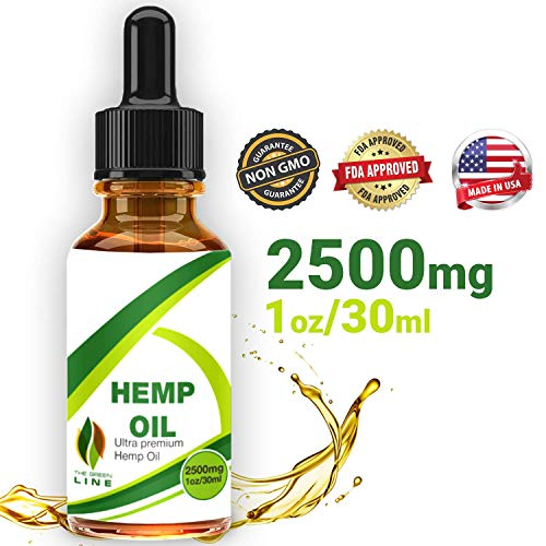 Hemp Oil Drops 2500mg, 100% Natural Extract, Supports Anti-Anxiety and Stress Health, All Natural Dietary Supplement, Rich in Omega 3 and 6 Fatty Acids for Skin & Heart Health, Vegan Vegetarian Friend