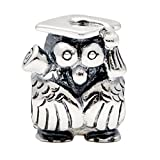 1 Pc Graduation Day Gifts 925 Solid Sterling Silver Graduate Owl with Cap Hat Charm Bead Fit Bracelets Jewelry Jewellery