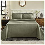 Superior 100% Cotton Basket Weave Bedspread with Shams, All-Season Premium Cotton Matelassé Jacquard Bedding, Quilted-look Geometric Basket Pattern - King, Sage