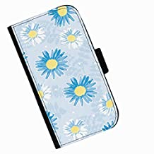 Hairyworm - Blue flower drawing on pale blue background HTC Desire 626 leather side flip wallet cell phone case, cover with card slots, money slot and magnetic clasp to close.