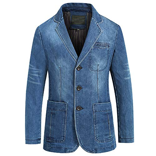 Men's Classic Notched Collar 3 Button Tailoring Distressed Denim Blazer Jacket (X-Large, Light Blue_02)