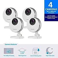 Samsung SmartCam HD Pro 1080p Full HD Wifi IP Camera Bundle SNH-P6410RFM Quad Pack-Certified Manufacturer Refurbished