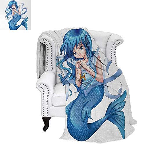 Super Soft Lightweight Blanket Manga Cartoon Style Character of a Pisces Girl Horoscope Zodiac Themed Avatar Oversized Travel Throw Cover Blanket 50