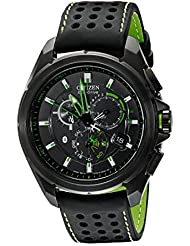 Citizen Mens AT7035-01E Eco-Drive Black Stainless Steel Watch with Green Accents