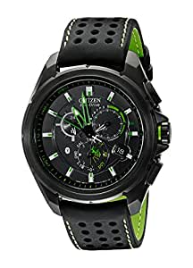 Citizen Men's AT7035-01E Eco-Drive Black Stainless Steel Watch with Green Accents