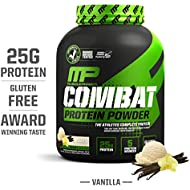 MusclePharm Combat Protein Powder, Essential Whey Protein Powder, Isolate Whey Protein, Casein and Egg Protein with BCAAs and Glutamine for Recovery, Vanilla, 4-Pound, 54 Servings