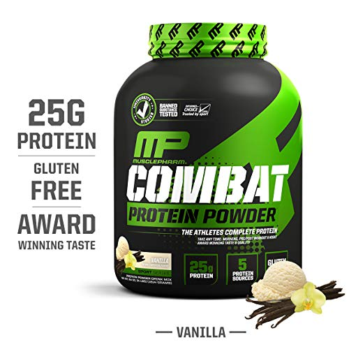 MusclePharm Combat Protein Powder, Essential Whey Protein Powder, Isolate Whey Protein, Casein and Egg Protein with BCAAs and Glutamine for Recovery, Vanilla, 4-Pound, 54 Servings (Best Muscle Building Supplements For Beginners)