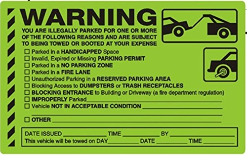 WARNING, YOU ARE ILLEGALLY PARKED FOR ONE OR MORE.... PARKING VIOLATION STICKERS, PACK OF 60 -