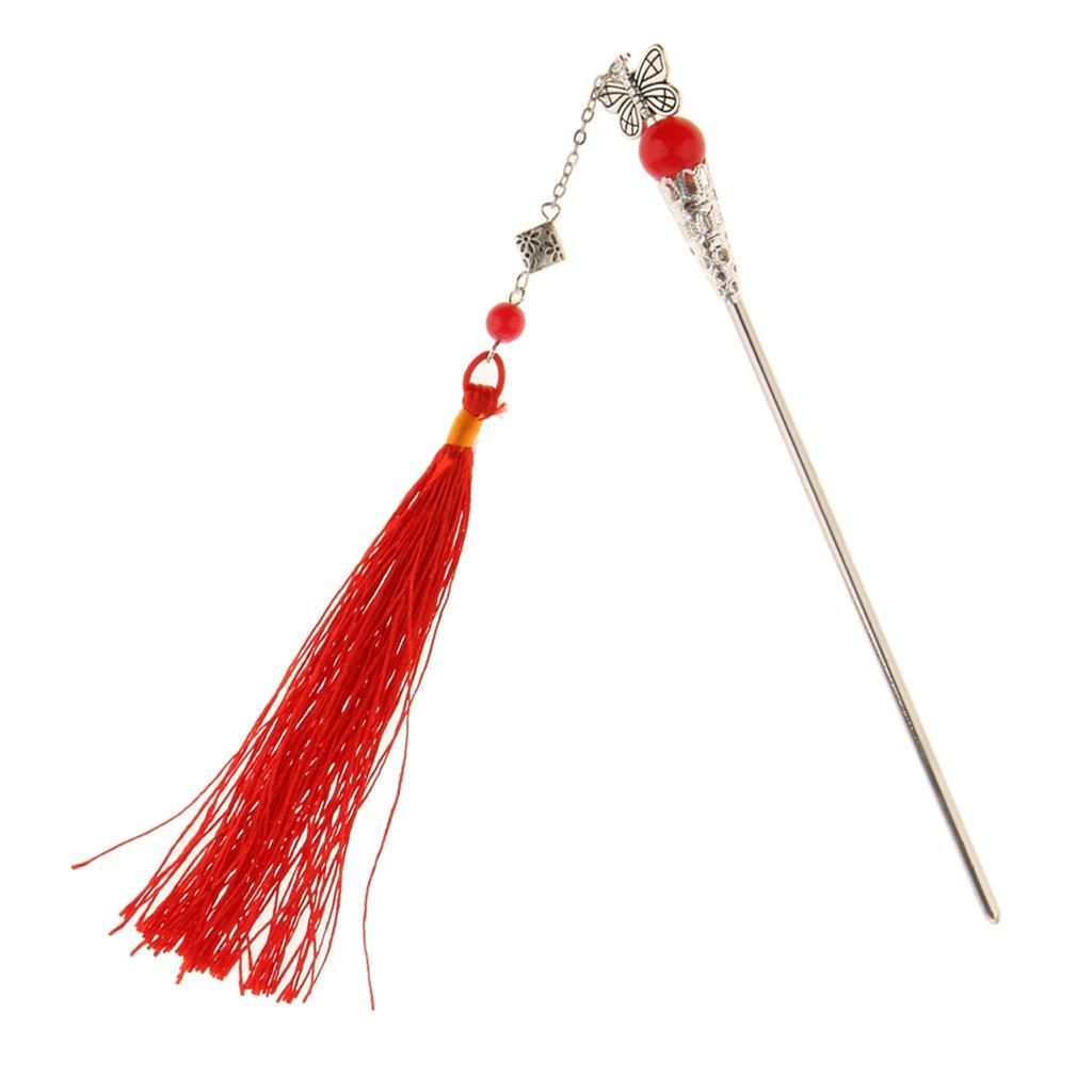 MagiDeal Retro Butterfly Hairpin Hair Stick Kanzashi Long Tassel Chignon for Kimono Hanfu