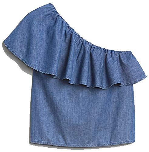 - GAP Womens Blue Chambray Denim One-Shoulder Ruffle Top XL