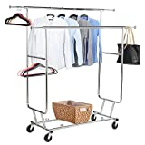 Yaheetech Commercial Grade Garment Rack Rolling Collapsible Rack Hanger Holder Heavy Duty Double Rail Clothes Rack Extensible Clothes Hanging Rack 2 Omni-Directional casters with Brake,250lb Capacity