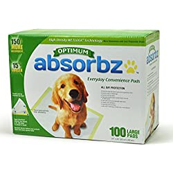 """Absorbz Optimum Training Pads for Dogs, 100 ct. Large 24""""x24"""" Pads"""