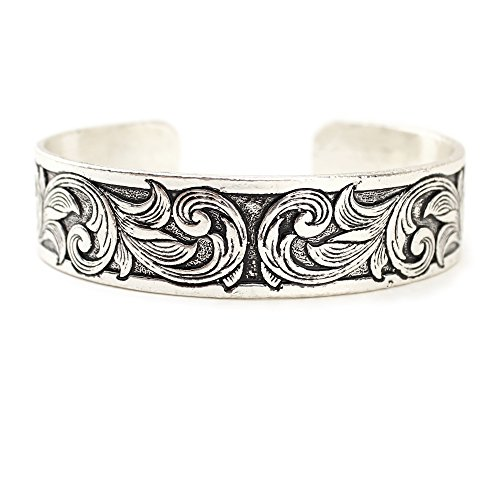 Wyo-Horse Jewelry Thin Western Tooled Cuff Bracelet - Copper, Silver or Patina Finish (Silver)