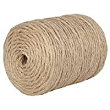 XiangGuanQianYing 328 Feet 6 Ply Natural Jute Twine Best Arts Crafts Gift Hemp String Christmas Twine String Packing Materials Durable Jute Cord Twine for Gardening