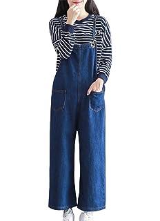 af385333c88 Women Baggy Jeans Boyfriend Denim Overalls Jumpsuit Wide Leg Pants Trousers  Loose Ankle Trousers Dungarees