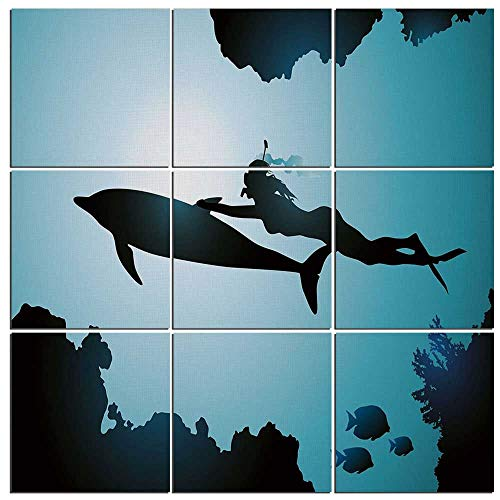 Waterfall Dolphin (9 panels Wall Art Waterfall Painting on Canvas Dolphin Framed Canvas Paintings Ready to Hang for Home Decorations Wall Decor,Scuba Diver Girl Swimming with Dolphin Silhouette in Sea Fish Reefs Image,6)