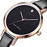 Quartz Watch for Women,Stone Analog Watch Fashion Ladies Wrist Watch with Black Leather Band Starlight Dial Large Face