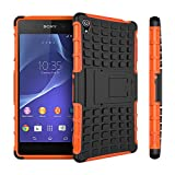 Sony Z3 Case,Sony Z3 Case Cover,XYX [Kickstand] Orange Armor Case [2 in 1 Rugged Hybrid] Hard/Soft Drop Impact Resistant Protective Case with Kickstand for Sony Xperia Z3 - Orange