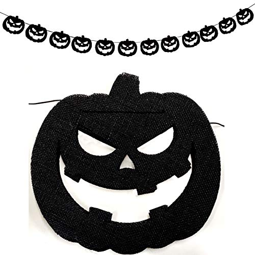 Scary Halloween Pumkins (Parfair Dessin Extra Large Scary Pumkin Natural Burlap Banner Prestringed DIY Decoration for Christmas, Halloween, Thanksgiving, Wedding, Baby Shower and Birthday Party (Black,)