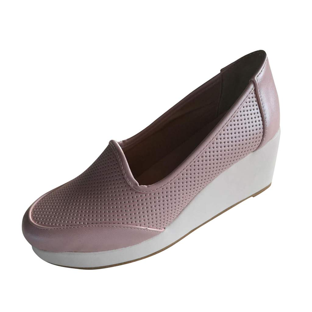 Women's Summer Hollowed Breathable Wedge Single Shoes,2019 Hot Ladies Solid Cool Feel Soft Casual Flats Shoes Plus Size 5-9 (Pink, US:7) by AuroraX Sandals