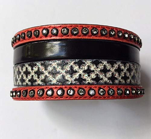Lula Costa Rican Handmade Fashion Design 4 Leather One Bracelet in Black Glitter Stain Leather with Red Swarovski Crystals Leather in a Magnet Silver Laminated Metal Clasp