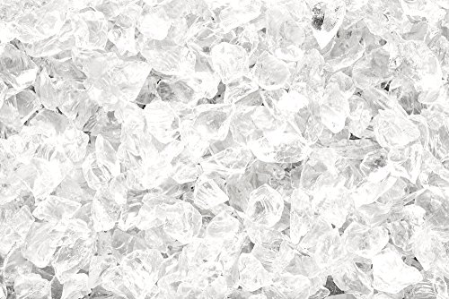 ICE CLEAR Multi-Purpose Premium Decor & Fire Glass Rock 2-pound 1/4''-1/2'' inch - For Use In Fire Features, Aquariums, Apothecary, Jars, Vase, Potted Plants, Fire Bowls, Etc. by One Stop Outdoor