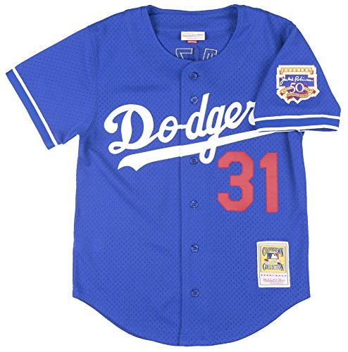 Mike Piazza Blue Los Angeles Dodgers Authentic Mesh Batting Practice Jersey Small  36