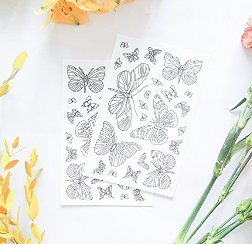 Butterfly Coloring Stickers for DIY Planner Decoration, Paper Crafts or Party Favors, 2 Sheets