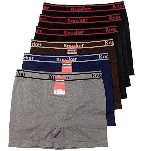 Lycra Spandex Mens Briefs (Mens 6pk Seamless Athletic Spandex Compression Sports Workout Boxer Brief Underwear Shorts, Underline