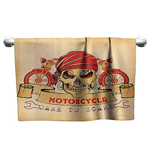 (duommhome Manly Decor Beach Towel llustration of Skull Classics Motorcycle Dare to Scare Spooky Racing Danger Theme W27 x L55)