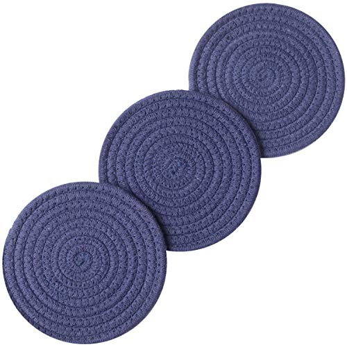 - Lifaith 100% Cotton Thread Weave Pot Holders, Hot Pads, Pot Holders, Spoon Rest, Jar Opener & Coasters, for Cooking and Baking, Diameter 7 Inches, Round, Set of 3 (Dark Blue, 7