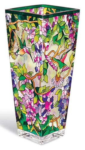 Stained Glass Vase Hummingbird Wisteria Flowers 4.25
