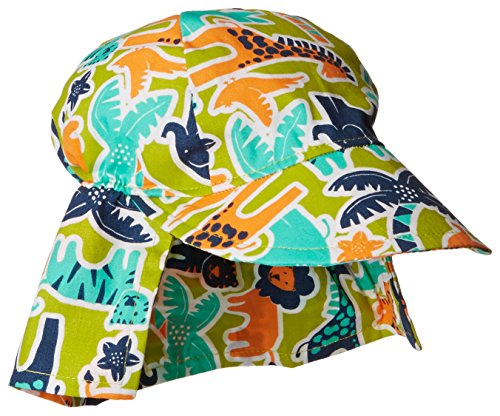 Flap Happy Baby Boys' Cotton Poplin Hat, Zoo Mania, Medium
