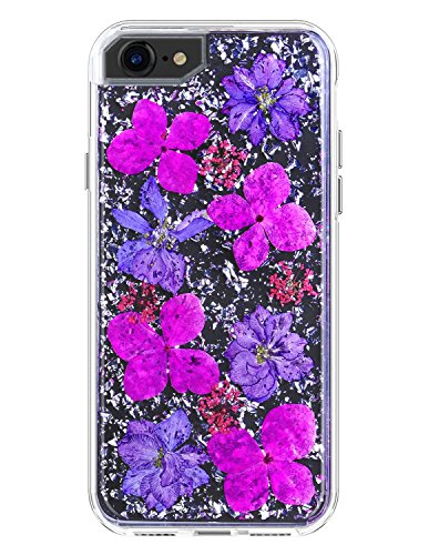 YXY·CF iPhone 8 Case - Karat Petals - Made with Real Flowers - Slim Protective Design for Apple iPhone 8/iPhone 7/6/6s (Purple Petals) ()