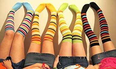 Rainbow color and Varicolored High Socks For girls Comfort and Softness.