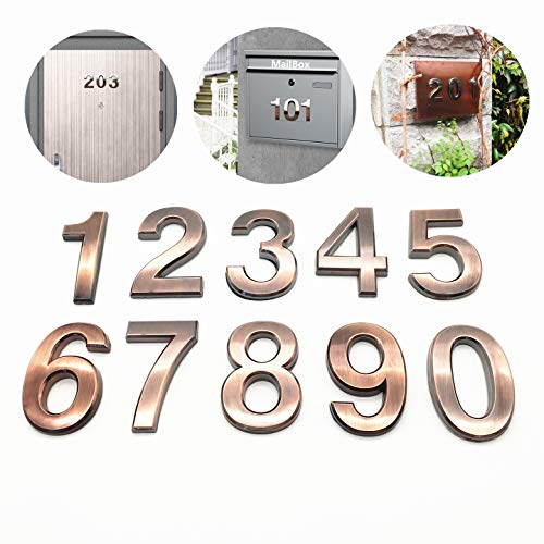 Numbers Mailbox (10 Pack Self Stick House Numbers 0 to 9 Address Sign Solid Stickers for Mailbox Apartment Hotel Door 2.75 inch High Bronze & Silver (10 Pack 0-9 2.75