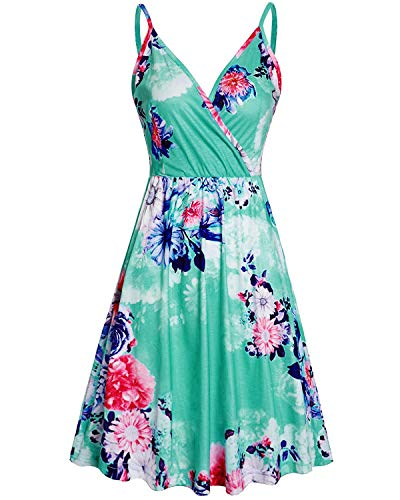 VOTEPRETTY Women's V-Neck Floral Spaghetti Strap Summer Casual Swing Dress with Pockets(Floral06,S)
