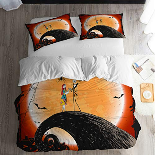 ARL HOME Nightmare Before Christmas Duvet Cover 3PC Queen Size Halloween Skull Couple Bedding Sets Cartoon Movie Anime Halloween Quilts Cover (2 Pillow Cases) -