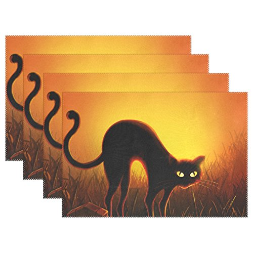 Halloween Black Cat Print Placemats, ALIREA Heat-resistant Placemats Stain Resistant Anti-skid Washable Polyester Table Mats Non Slip Easy Clean Placemats, 12''x18'', Set of 4 by ALIREA