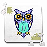 Russ Billington Monograms- Cute Owl Initial D - Initial Letter D- Cute Owl in Turquoise Pink and Lavender - 10x10 Inch Puzzle (pzl_241065_2)