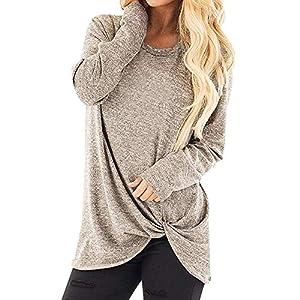 XOWRTE Women's O-Neck Casual Solid Loose Fall Long Sleeve Tunic T-Shirt Blouse Tops