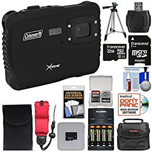 Coleman Xtreme C6WP HD Shock & Waterproof Digital Camera (Black) with 32GB Card + Batteries & Charger + Case + Tripod + Kit