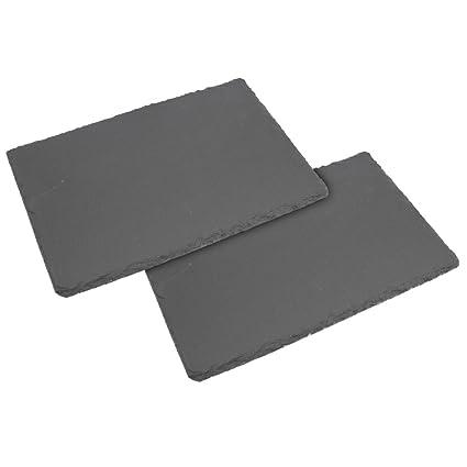 COM-FOUR® Bandeja 2x, bandeja de servicio hecha de pizarra natural, 30 x 20 cm