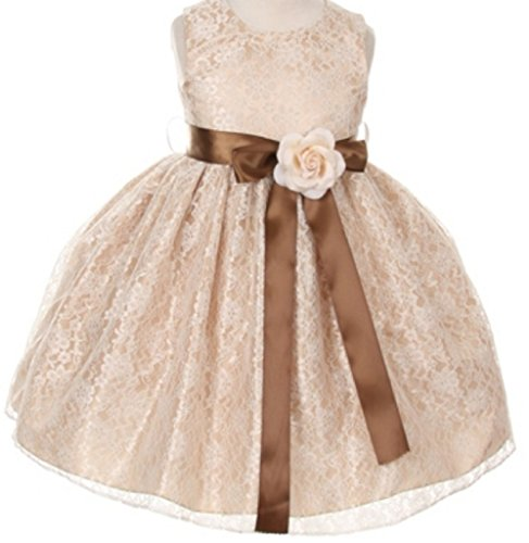 brown and champagne flower girl dresses - 2