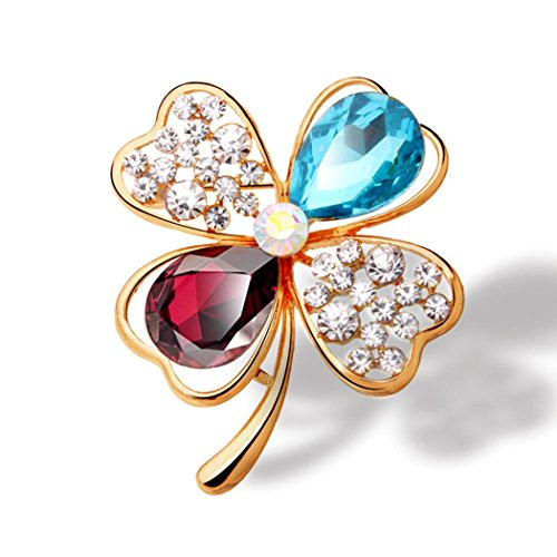 Time Pawnshop Fashion Lucky Four Leaf Clover Colorful Cubic Zirconia Luxury Charm Brooch