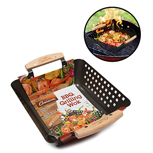 grill basket non stick bbq barbecue grilling wok w import it all. Black Bedroom Furniture Sets. Home Design Ideas